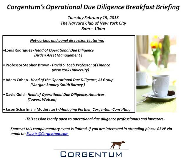 Corgentum breakfast invitation small Corgentum to Host Operational Due Diligence Breakfast Briefing at the Harvard Club in NYC